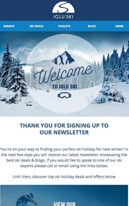 Welcome email Iglu